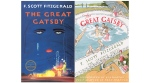 The 2018 cover image of the novel 'The Great Gatsby' by F. Scott Fitzgerald, left, and 'The Great Gatsby: The Graphic Novel,' with illustrations by Aya Morton and adapted text by Fred Fordham. (Scribner via AP)