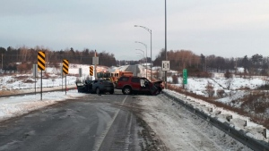 Quebec Provincial Police say one person has died and two other people are in hospital after a head-on crash on Highway 50 on Wednesday, Jan. 22, 2020. (@Surete_Ouest/Twitter)