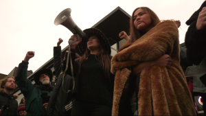 Pipeline protesters outside the energy ministry in Victoria on Wednesday, Jan. 22, 2020. (CTV Vancouver Island)