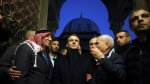 French President Emmanuel Macron, center, visits the al-Aqsa mosque compound in Jerusalem, Wednesday, Jan. 22, 2020. (AP Photo/Mahmoud Illean)