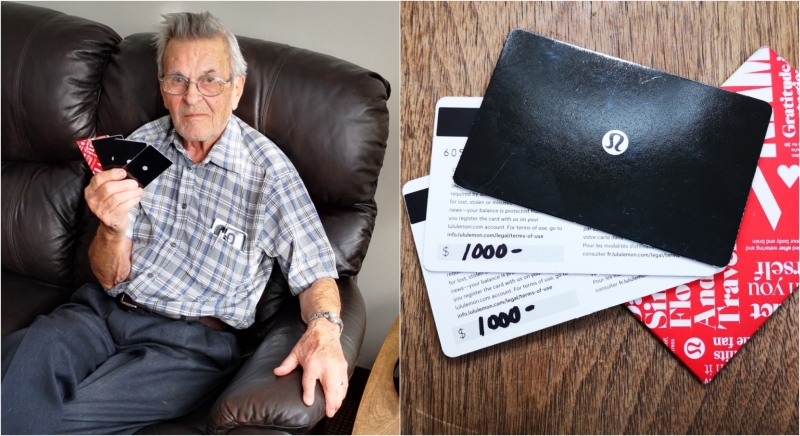 Dennis Williams, 84, is seen with his Lululemon gift cards at his Toronto retirement home. (Supplied)