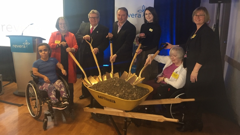 London Mayor Ed Holder and Councillor Paul Van Meerbergen, third and fourth from left, were among those at a ground-breaking for a new long-term care home in London, Ont. on Wednesday, Jan. 22, 2020. (Reta Ismail / CTV London)