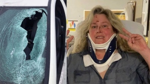 Karen Cliffe was injured when a chunk of ice smashed through her windshield on Highway 40 in the West Island.