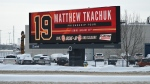 """The """"Matthew Tkachuk Friendship Tour"""" billboard in Edmonton. Jan. 22, 2020. (CTV News Edmonton)"""