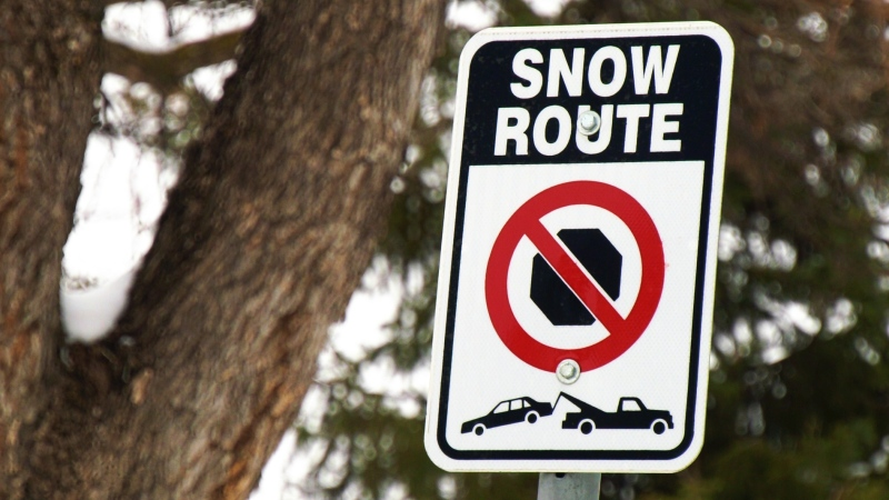 A file image of a snow route sign in Winnipeg. (Source: CTV News Winnipeg)