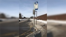 An empty bus stop at Conestoga College seen during the GRT strike on Jan. 22, 2020. (Natalie van Rooy / CTV Kitchener)
