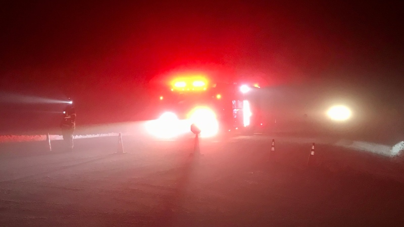 A road block at the scene of two-semi truck collision south of Leduc. Jan. 22, 2020. (CTV News Edmonton)