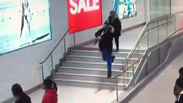 Video of the incident shows the male suspect pulling out what looks like a long gun and running toward another young person.