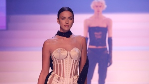 Model Irina Shayk wears a creation for the final Jean Paul Gaultier Haute Couture Spring/Summer 2020 fashion collection presented Wednesday Jan. 22, 2020 in Paris. (AP Photo/Francois Mori)