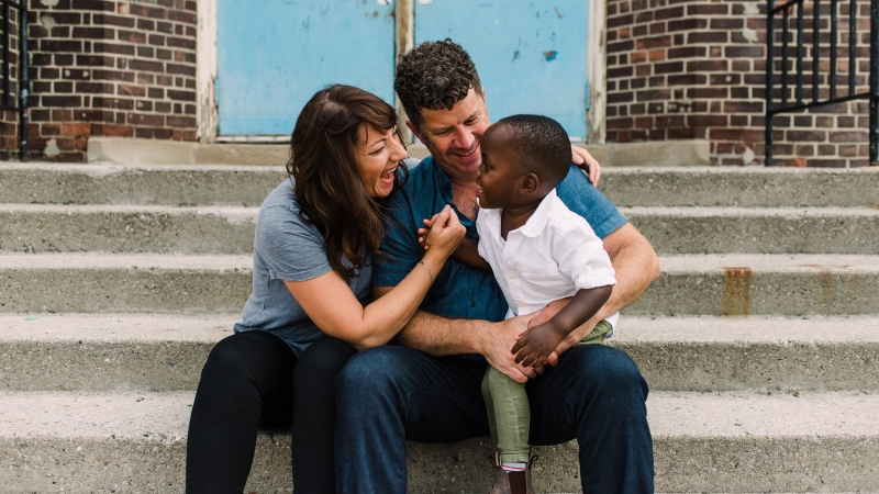 Kat Lanteigne and her husband Graeme Ball adopted their son Nathaniel from Zambia in 2017. (Nikki Mills)