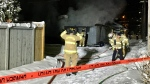 Garage fire, 88 Street and 101 Avenue