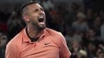 Nick Kyrgios celebrates after defeating Gilles Simon at the Australian Open tennis championship, on Jan. 23, 2020. (Lee Jin-man / AP)
