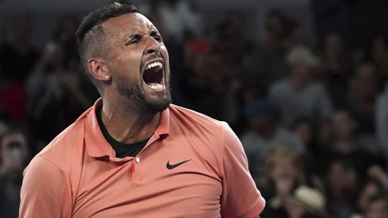 Nick Kyrgios celebrates after defeating Gilles Simon at the Australian Open tennis championship, on Jan. 23, 2020. (Lee Jin-man / AP)