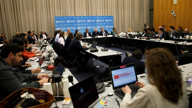 From background, centre left, Maria van Kerkhove, Head of Emerging Diseases and Zoonoses Unit, Director General of the World Health Organization, WHO, Tedros Adhanom Ghebreyesus,Professor Didier Houssin, the Chair of the Emergency Committee and Michael Ryan, Executive Director of WHO's Health Emergencies programme, hold a press conference after an Emergency Committee meeting on what scientists have identified as a new coronavirus, at the World Health Organization (WHO) headquarters in Geneva, Switzerland, Wednesday, Jan. 22, 2020. Health authorities are closely watching an outbreak of respiratory illness caused by a new virus from China. Governments are stepping up surveillance of airline passengers from central China and taking other steps to try to control the outbreak. (Salvatore Di Nolfi/Keystone via AP)