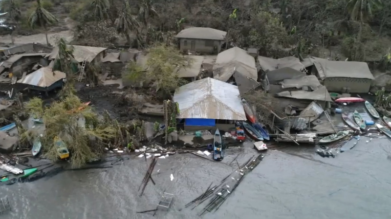 Philippines town covered in volcanic ash