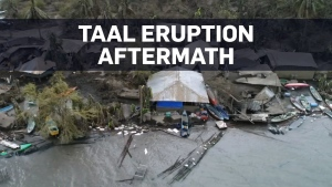 Aerial view of devastation caused by the Taal volc