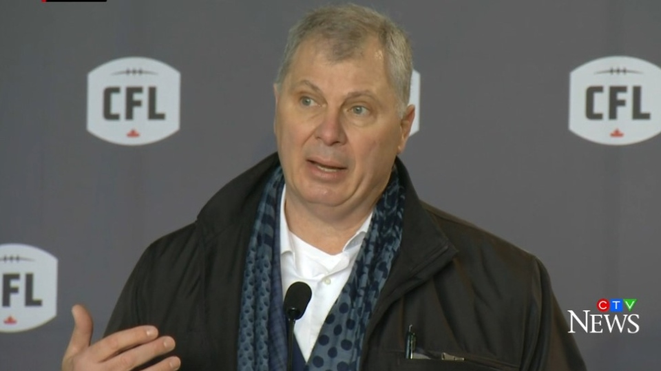 Randy Ambrosie, commissioner of the Canadian Football League, makes an announcement in Halifax on Jan. 23, 2020.