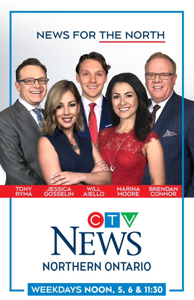 CTV Northern Ontario's anchor team: Tony Ryma, Jessica Gosselin, Will Aiello, Marina Moore, and Brendan Connor