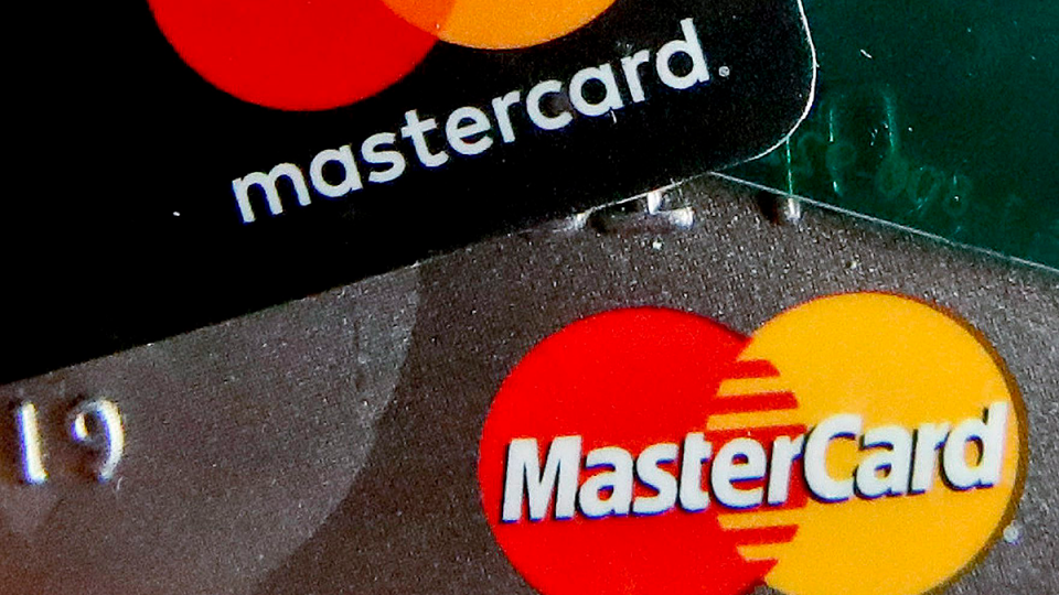 Logos for Mastercard are seen on on credit cards in Zelienople, Pa. in this Feb. 20, 2019 file photo. (AP / Keith Srakocic)