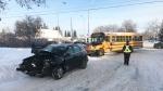 A school bus and a car were involved in a crash on Jan. 23, 2020. (Matt Marshall/CTV News Edmonton)