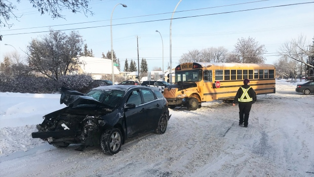 A school bus and a car were involved in a crash on Jan. 23, 2020. (Matt Marshall/CTV News Edmonton)