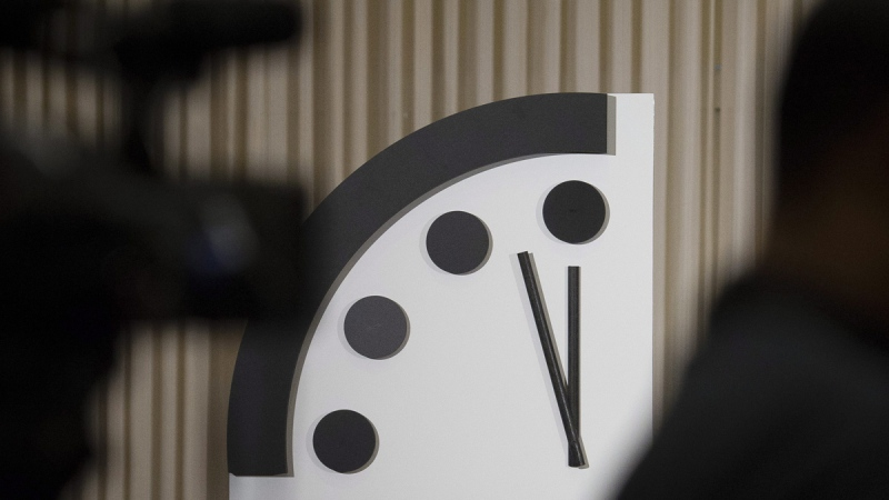 The Doomsday Clock at The Bulletin of the Atomic Scientists news conference in Washington, on Jan. 24, 2019. (Cliff Owen / AP)