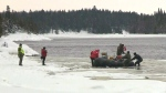 The SQ search continues for four missing men as the seventh and final snowmobile was found that went through the ice.