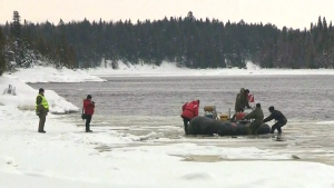 The SQ search continues for two missing men as two bodies and the seventh and final snowmobile were found that went through the ice.