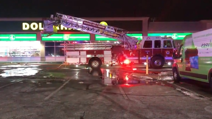 Crews were called to a fire at the Dollarama at 300 Tecumseh Rd. E in Windsor on Wednesday, Jan. 23, 2020. (Alana Hadadean / CTV Windsor)