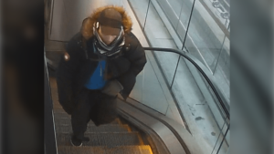 Transit police say they're looking for a suspect who allegedly hit a man with a metal pipe on Jan. 14. (Metro Vancouver Transit Police photo)
