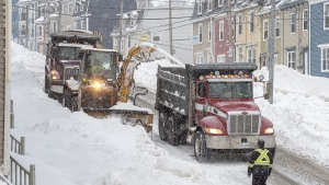 Workers remove snow from the streets in St. John's on Jan. 21, 2020. (Andrew Vaughan / THE CANADIAN PRESS)