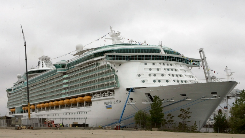 This May 11, 2006 file photo shows the Freedom of the Seas cruise ship docked in Bayonne, N.J.  (AP Photo/Mike Derer, File)