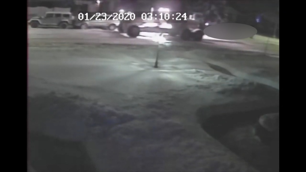 Grader smashes into parked vehicles in hit and run