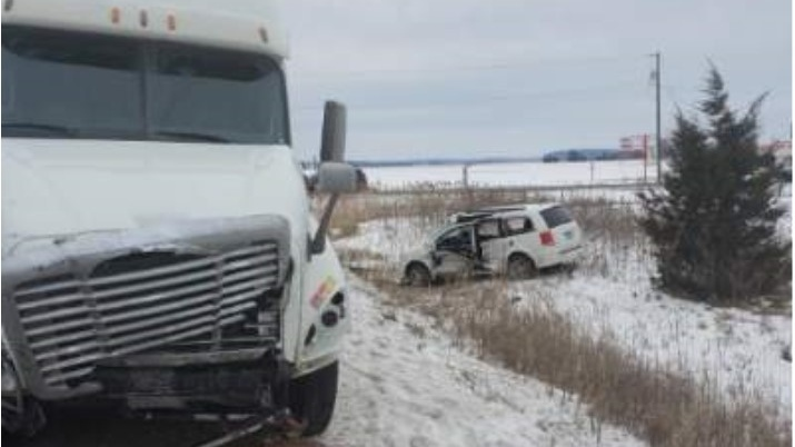 Emergency crews were called to the collision at Highway 3 and County Road 27 in Kingsville,Ont., on Thursday, Jan. 23, 2020. (Courtesy OPP)
