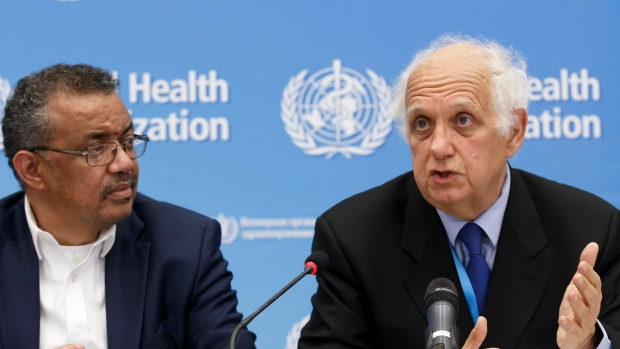 Director General of the World Health Organization, WHO, Tedros Adhanom Ghebreyesus, left, and Professor Didier Houssin, the Chair of the Emergency Committee hold a press conference after an Emergency Committee meeting on what scientists have identified as a new coronavirus, at the World Health Organization (WHO) headquarters in Geneva, Switzerland, Wednesday, Jan. 22, 2020. Health authorities are closely watching an outbreak of respiratory illness caused by a new virus from China. Governments are stepping up surveillance of airline passengers from central China and taking other steps to try to control the outbreak. (Salvatore Di Nolfi/Keystone via AP)