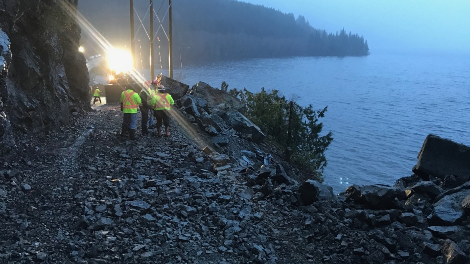 At 3:30 p.m., the ministry said in a statement that the roadway will remain closed overnight.  (B.C. Ministry of Transportation and Infrastructure)
