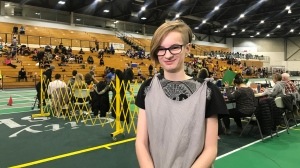 Victoria Fairburn, a Grade 8 student, competed in the 100 metre relay. (Carla Shynkaruk/CTV News Saskatoon)