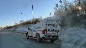 Flying snow off Gatineau Police vehicle