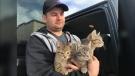 Kendall Diwisch rescued three cats near Drayton Valley, Alta., on Wednesday, Jan. 22, 2020. (David Ewasuk/CTV News Edmonton)