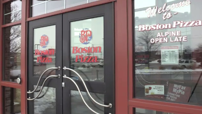 The outside of a Boston Pizza restaurant seen on Jan. 23, 2020.