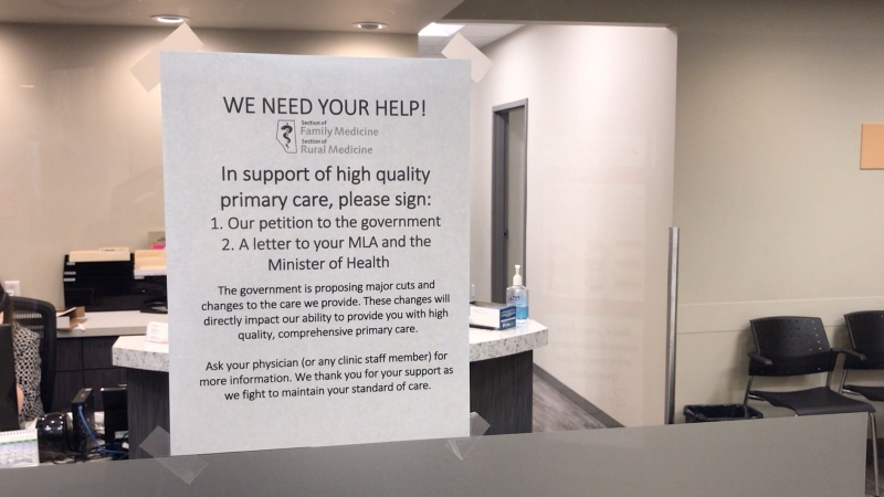 Doctors at Synergy Medical Clinic in Sherwood Park are asking patients to sign a petition to reject billing changes proposed by the provincial government. Jan. 23, 2020. (Jeremy Thompson/CTV News Edmonton)
