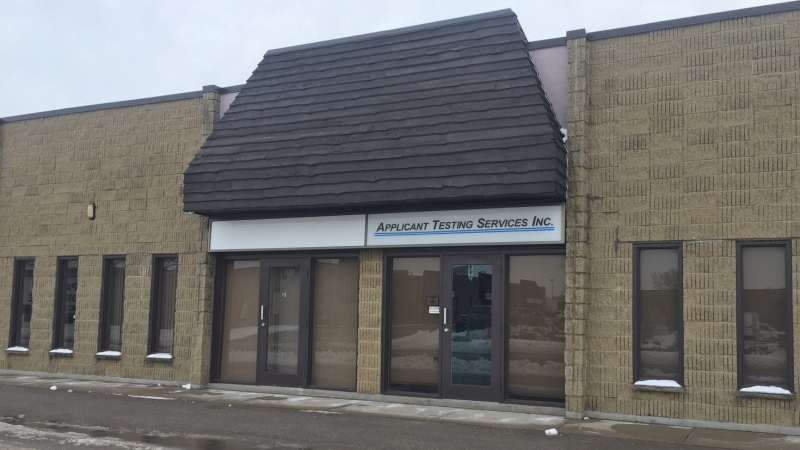 The offices for Applicant Testing Services (ATS) are seen in London, Ont. on Thursday, Jan. 23, 2020. (Reta Ismail / CTV London)