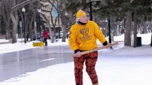 Steve McNeil skated in Saskatoon for 19 hours and 26 minutes. (CTV News Saskatoon)