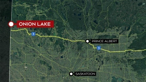The man's body was found near a highway in the Onion Lake Cree Nation.
