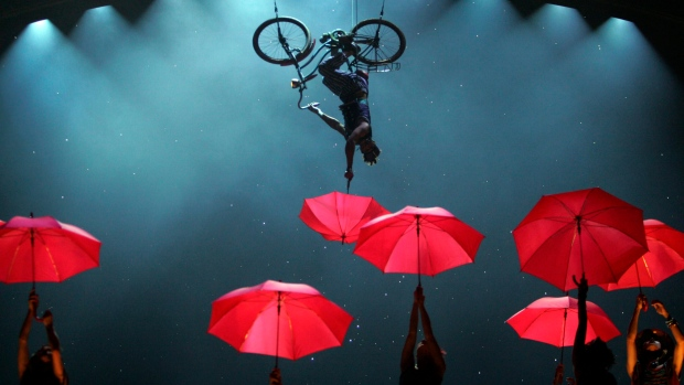 In this file photo, Canadian circus group Cirque Du Soleil perform parts of their new show for media at the Venetian Macao-Resort-Hotel in Macau, China, Thursday, May 29, 2008. (AP Photo/Wally Santana)