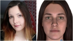 Albright, seen in a Facebook photo on the left, was arrested by police through evidence gathered from CCTV and a DNA phenotype which produced the image on the right. (Supplied)