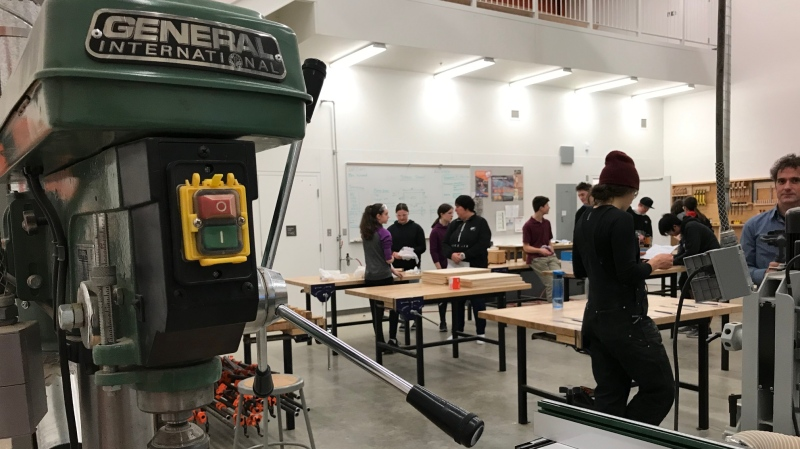 Grade 8 students from Dunsmuir Middle School are taught, carpentry, metalwork and electrical schools at Royal Bay Secondary through the Youth Discover the Trades program: Jan. 23, 2020 (CTV News)