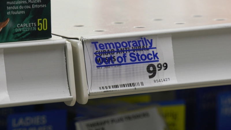 An empty shelf at a Vancouver London Drugs that would normally be stocked with masks is seen on Jan. 23, 2020.