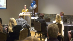 """Amanda Burt shares her story of being """"reintroduced"""" in the world by Catholic Social Services' brain injury program at a fundraiser celebration on Jan. 23, 2020."""