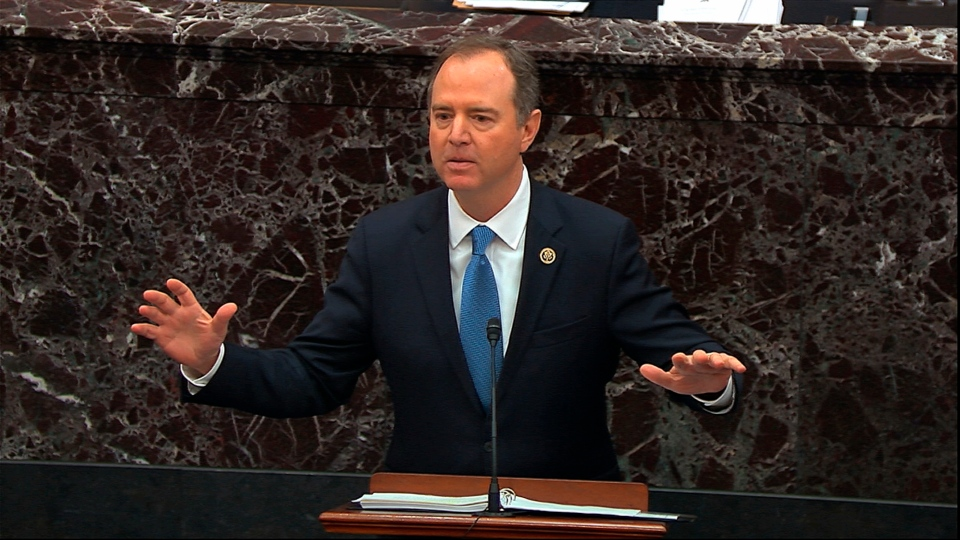 In this image from video, House impeachment manager Rep. Adam Schiff, D-Calif., speaks during the impeachment trial against U.S. President Donald Trump in the Senate at the U.S. Capitol in Washington, Thursday, Jan. 23, 2020. (Senate Television via AP)